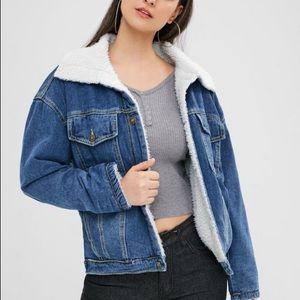 Black fuzzy jean jacket
